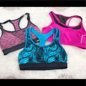 Set of 3 sports bras size medium pink & blue